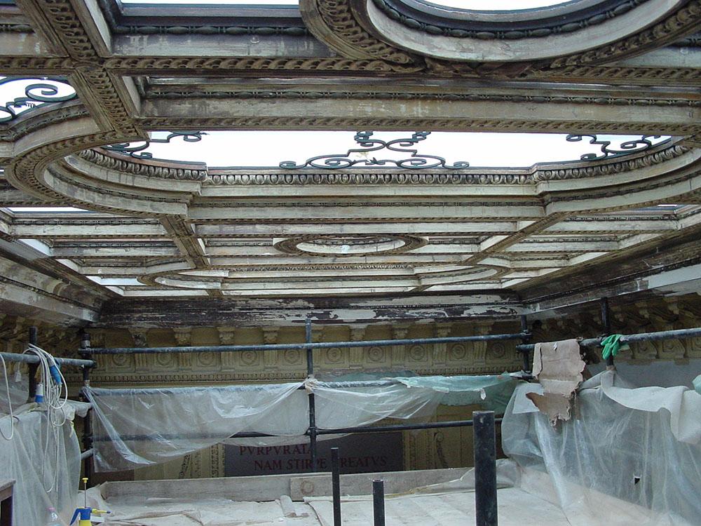 04 ulteriore veduta del lucernario durante gli interventi di restauro