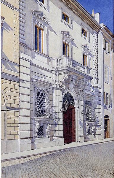 04a facciata del Palazzo su Via Sistina in una Gouache del 1909