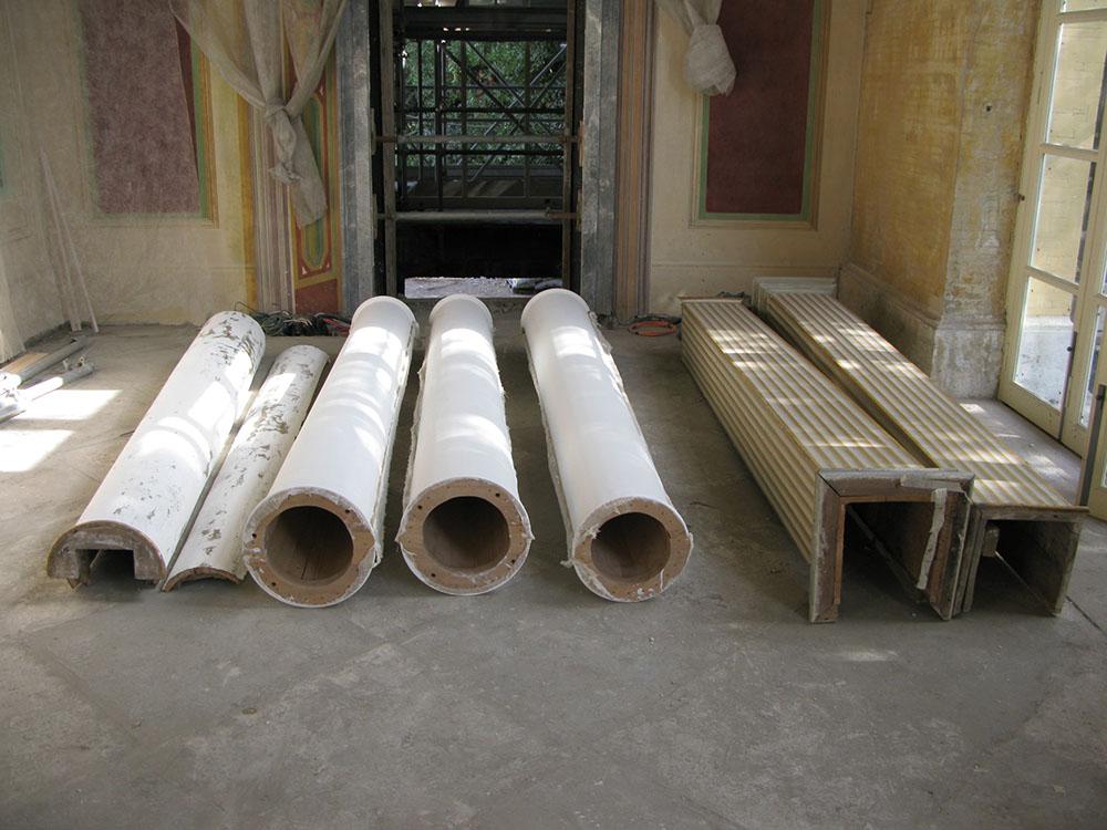 12m preparazione delle nuove colonne con camottatura