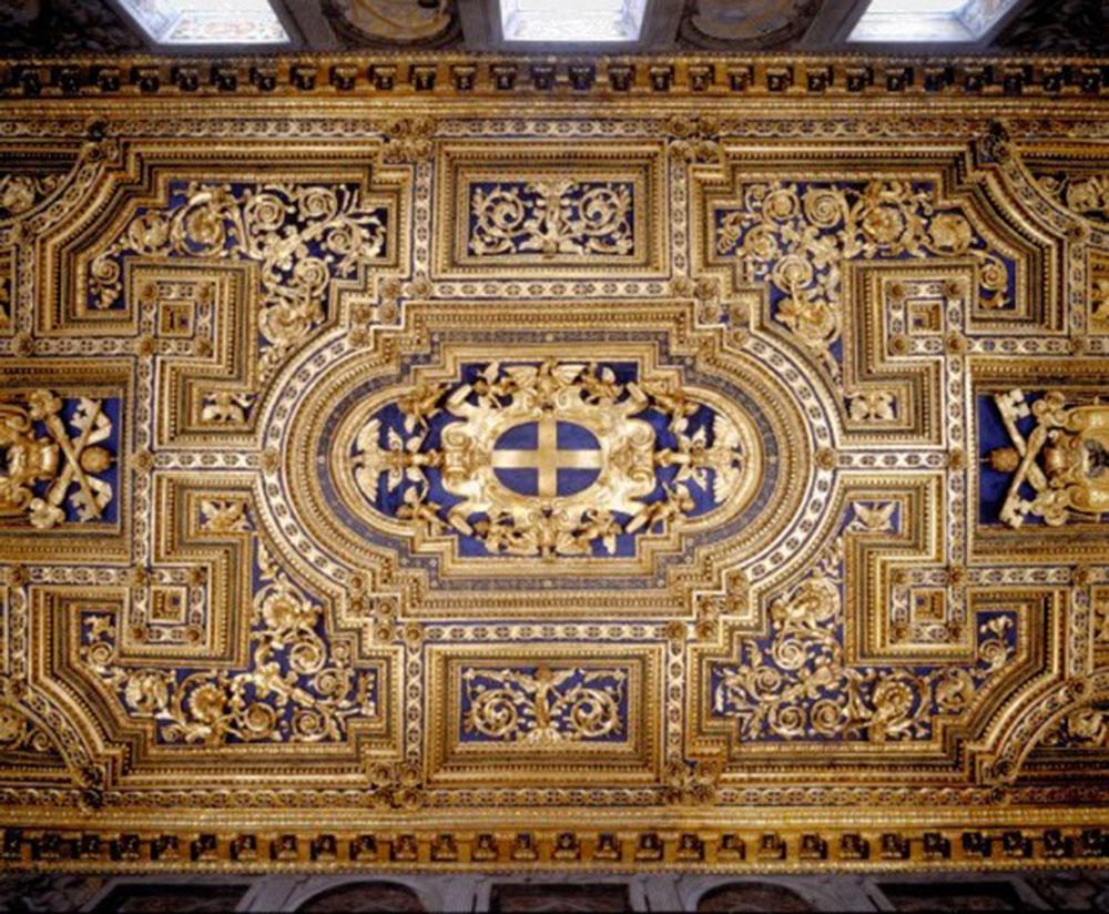 il soffitto del Salone al termine dei lavori di restauro